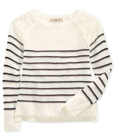 Pink Republic Striped Lace-Shoulder Sweater, Big Girls (7-16) - Sweaters - Kids & Baby - Macy's