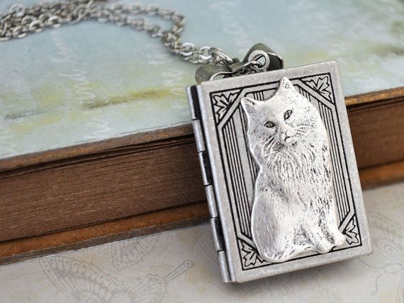 KITTY vintage style book cat locket necklace with tiny mesh bow charm in antique silver