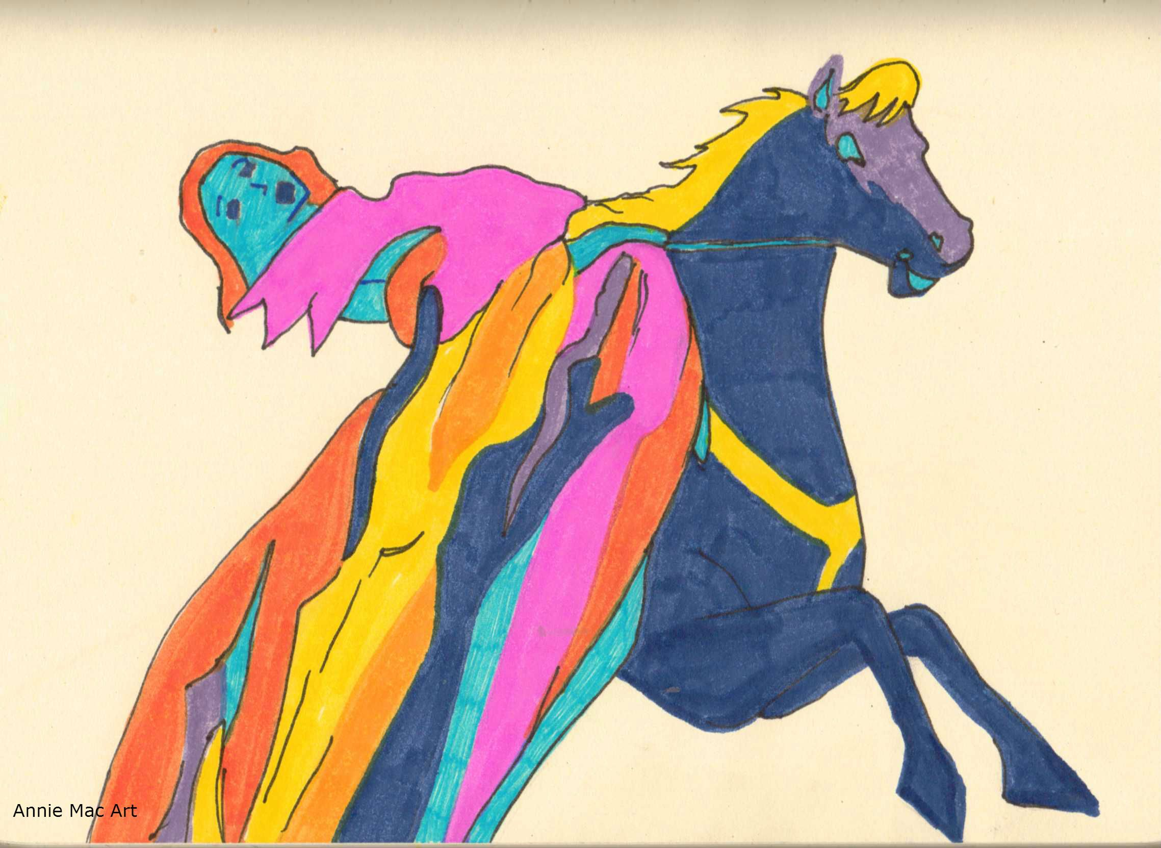 if you recognize this or know where its from, I LOVE U. :D #whatcoulditbe #drawing #sketch #horse #horseriding #colour #art #2012 #lady #inthesky #marker