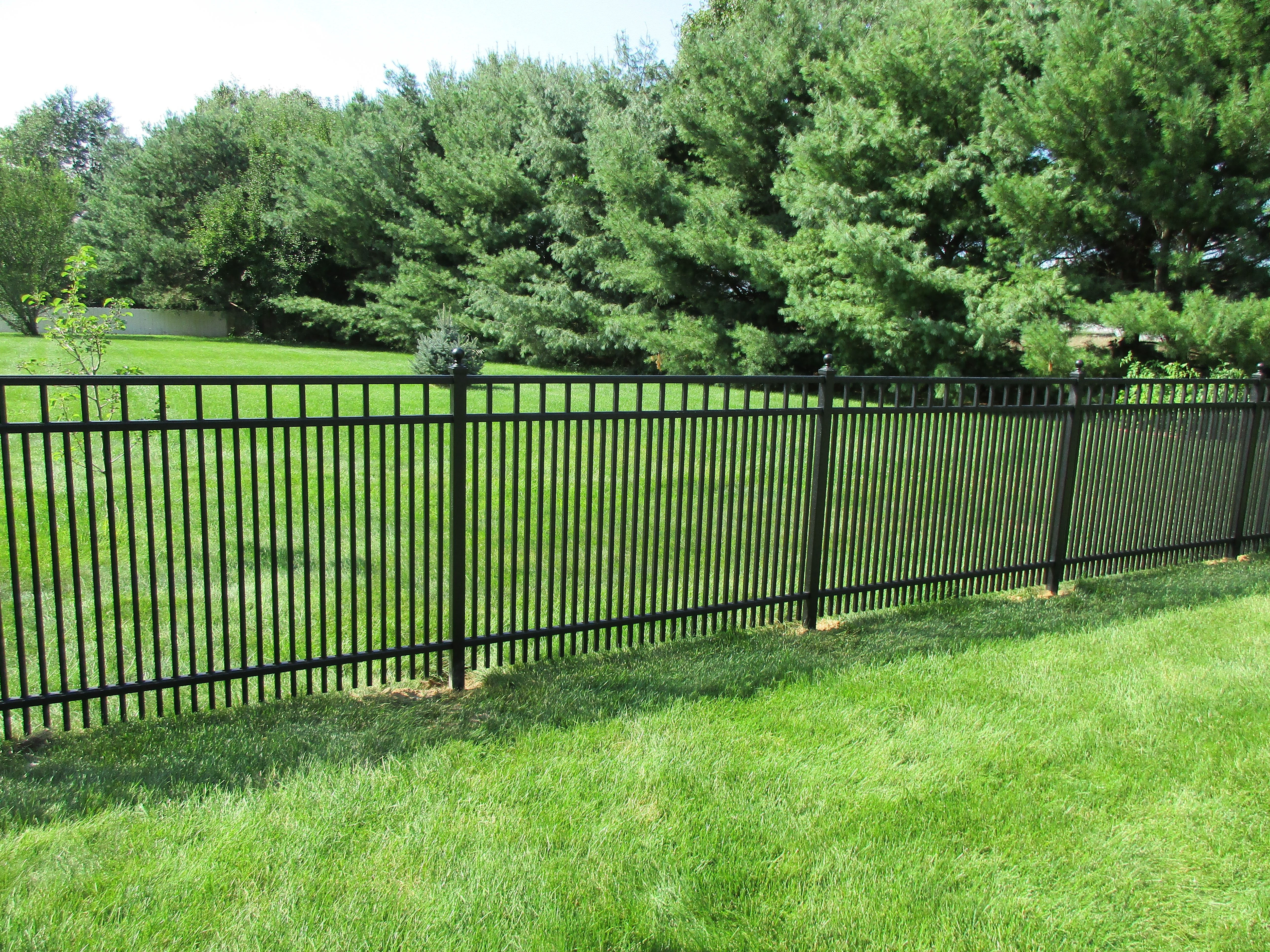 Black ornamental aluminum fence with 1 5/8