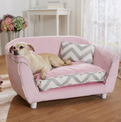 Fancy Luxury Medium Dog Couch Bed Sofa Pet Beds Furniture Pink 20