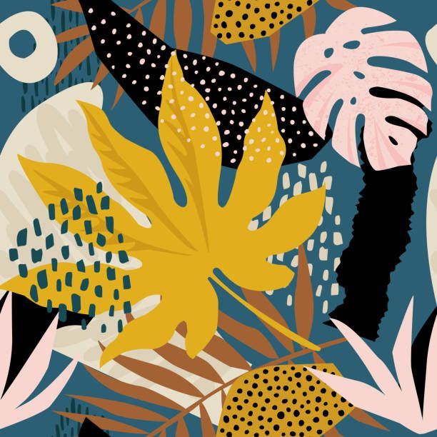 Trendy seamless exotic pattern with tropical plants and animal... -   12 plants Pattern inspiration ideas