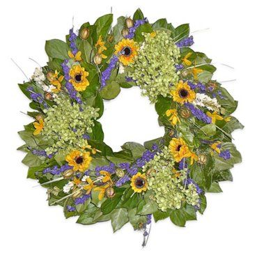 "Check out this item at One Kings Lane! 22"" Lavender & Sunflower Wreath, Dried"