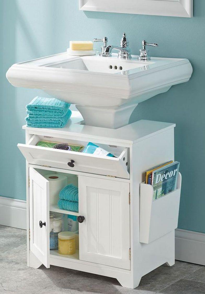 bathroom pedestal sink storage