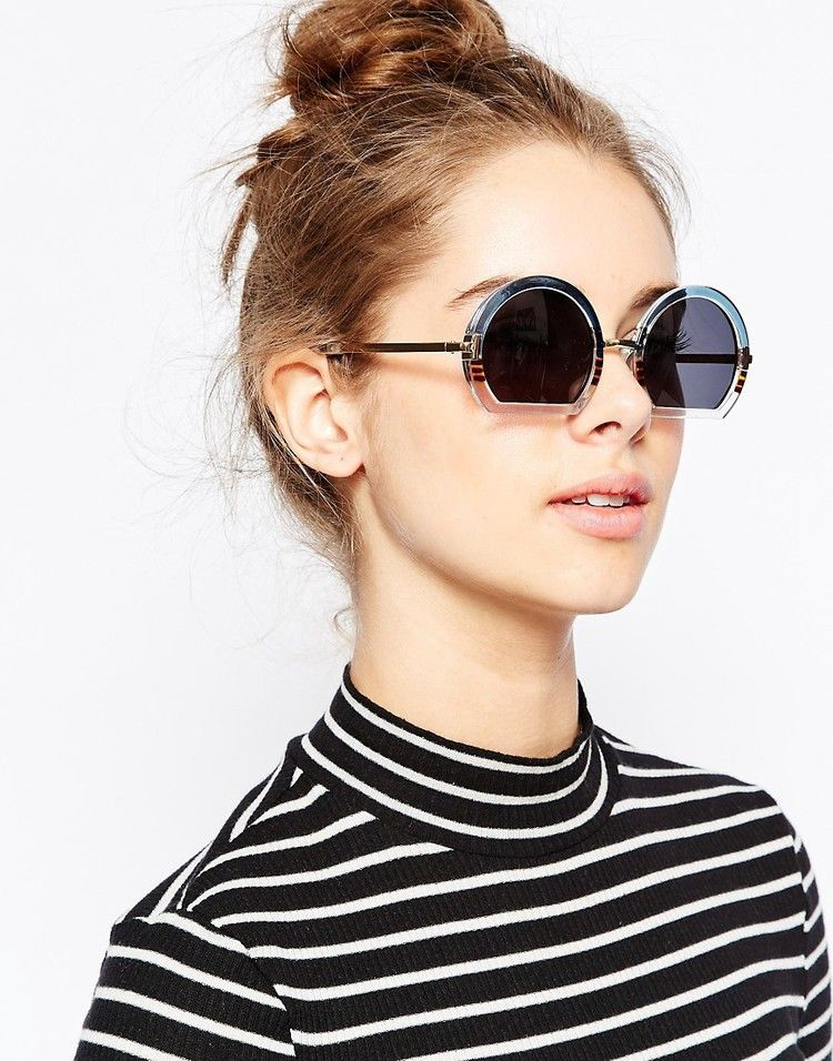 ASOS - ASOS Round Sunglasses With Mixed Sliced Bottom Frame