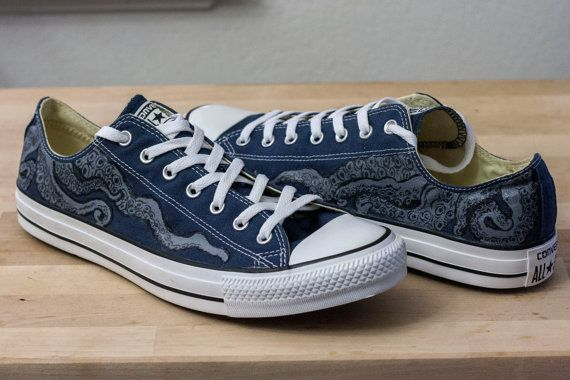 A nautical-themed hand-painted design on authentic navy blue Converse All-star  low top shoes made using permanent acrylic paints and artist pens. df22fdd29