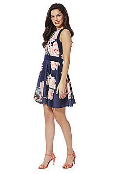 4010e81da9e Izabel London Floral Print Skater Dress - Navy