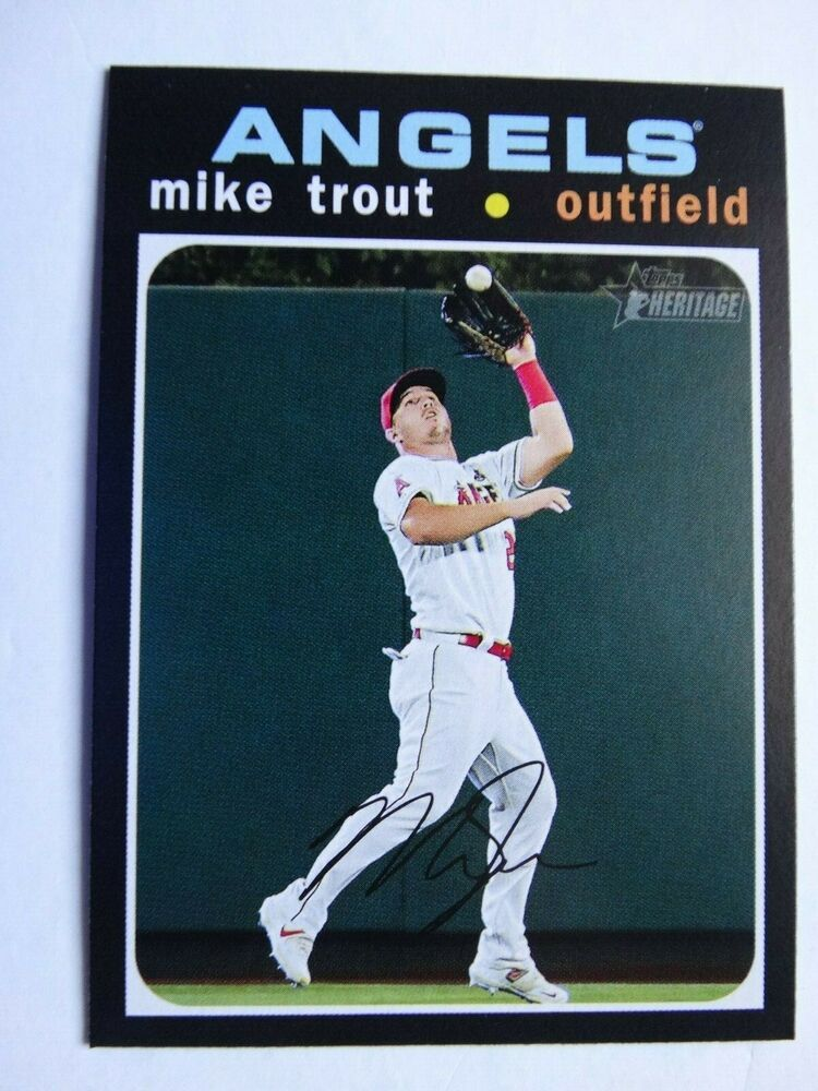 2020 topps heritage 466 mike trout angels action