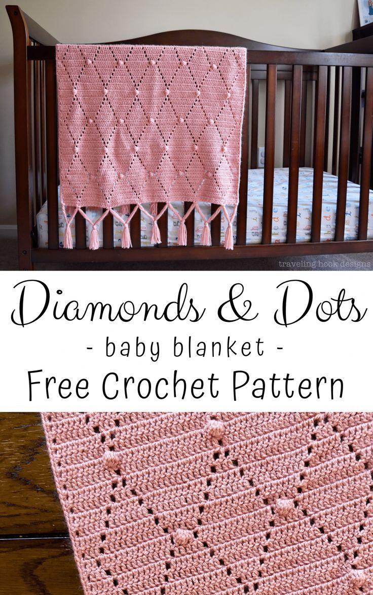 Diamonds & Dots Baby Blanket Crochet Pattern : Traveling Hook Creative #babyblanket