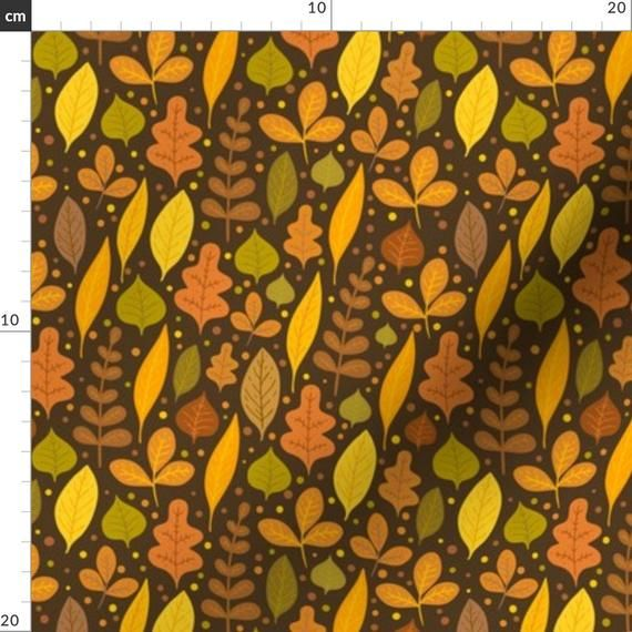 Autumn Foliage Fabric - Autumn Leaves By Kostolom3000 - Autumn Fall Woodland Leaves Yellow Brown Cot #autumnfoliage