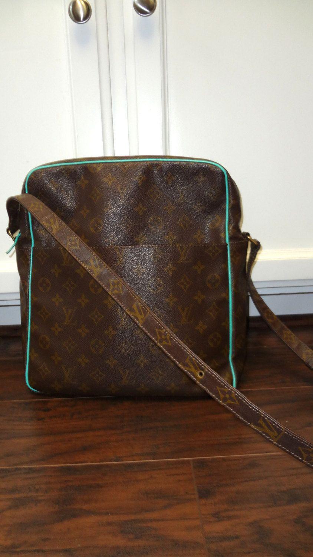 Authentic Vintage Louis Vuitton Marceau Gm Custom Trim Aqua Handbag Bag Messenger Tote Unisex One Of A Kind Exc Aqua Handbag Vintage Louis Vuitton Monogram Bag