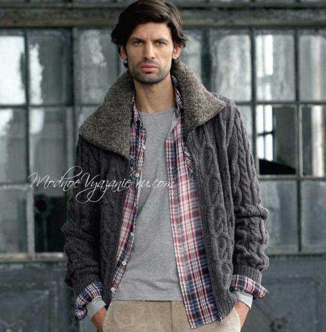 Вязаная куртка и шапка (Вязание для мужчин) Вязание 2