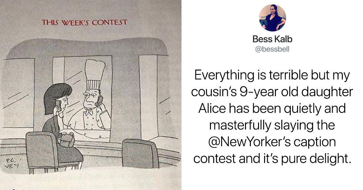 The Internet Is Obsessed With This 9 Year Old S Genius New Yorker Cartoon Captions New Yorker Cartoons 9 Year Olds Caption Contest