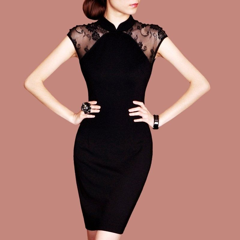 Black lace sleeved cheongsam | m_fiesta | Pinterest | Vestiditos ...