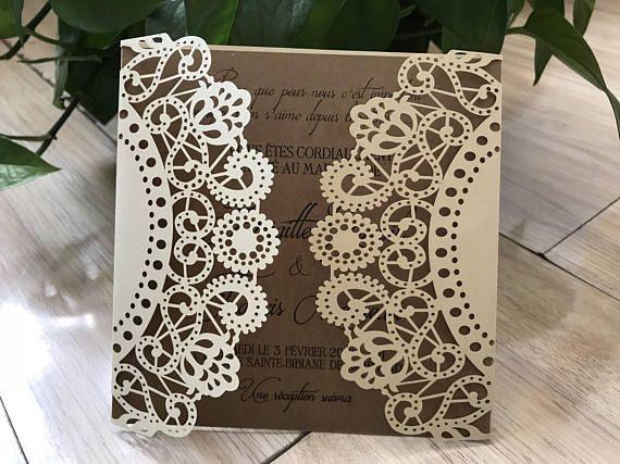 50pcs Light Gold Square Laser Cut Lace Flower Invitations Cards