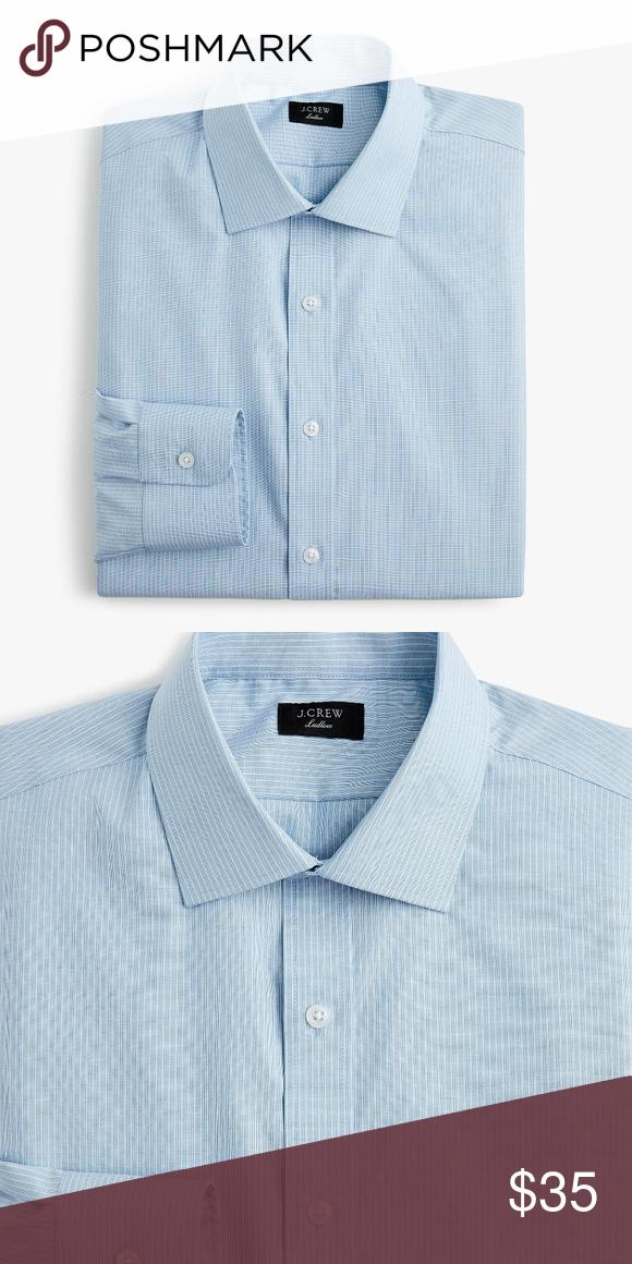 420b035192e1 J Crew Slim Fit Stretch Blue Stripe Dress Shirt New with tags Men's J. Crew  Ludlow Slim-fit Stretch Two-Ply Blue White Stripe Dress Shirt Size: 16 /34  ...