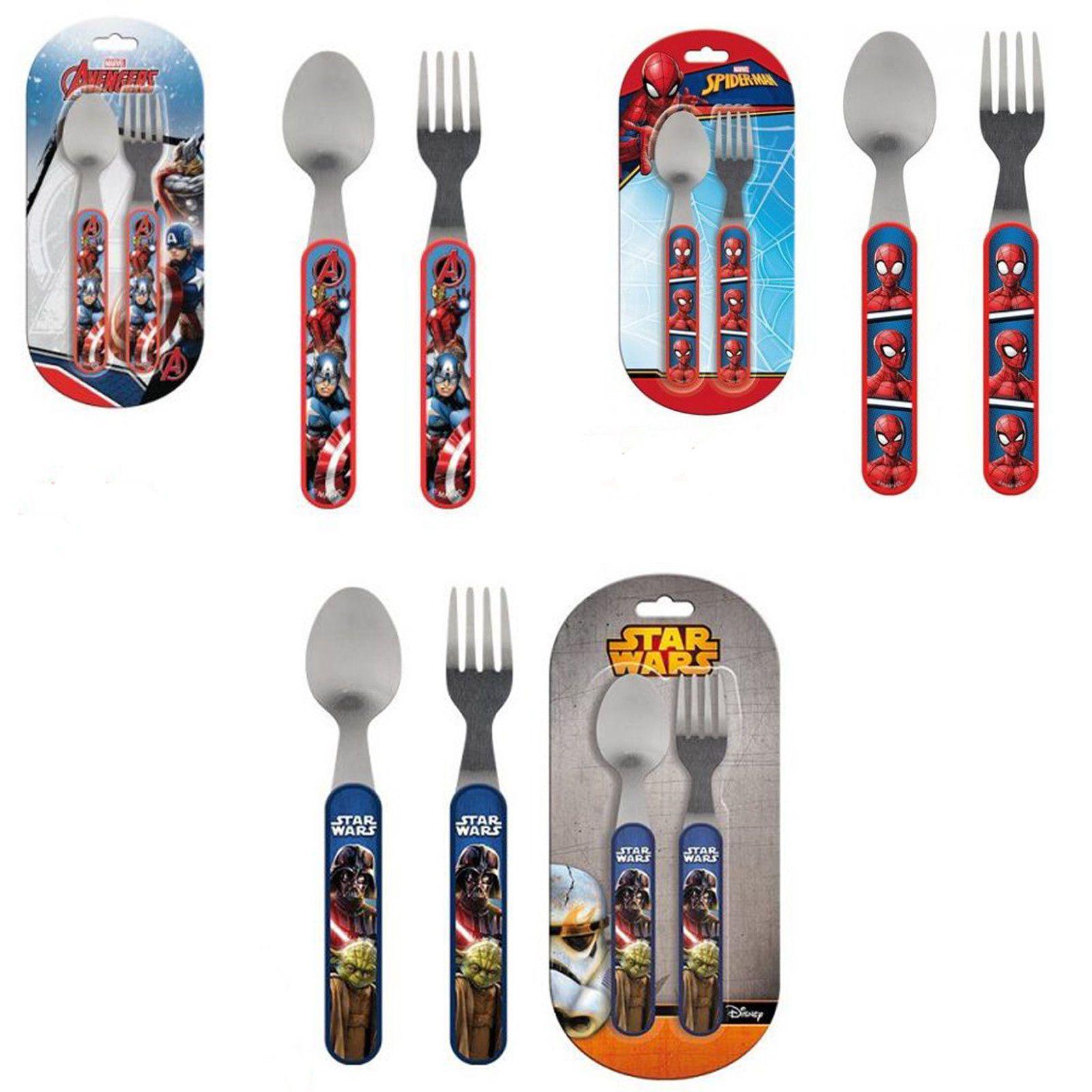 Cutlery Set 2 Pcs Marvel Avengers Spiderman Star Wars Stainless