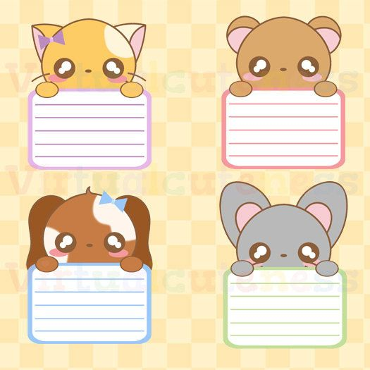 Kawaii Animal Lists Clipart - Chibi, Kawaii, Animal Labels, Peek A Boo, Cute Planner, Printable ...