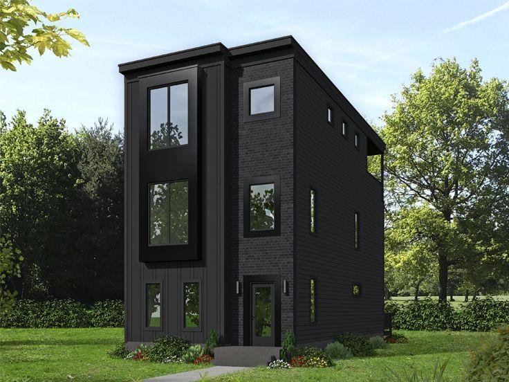 062H-0216: Modern Three-Story House Plan Fits a Narrow Lot ...