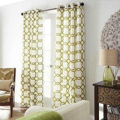 Flocked Geometric Curtain - Green | Geometric curtains, Curtains, Bedroom  makeover
