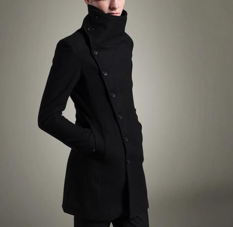 Men's High collar Breasted Wool Trench Coat Jacket Vintage Long ...