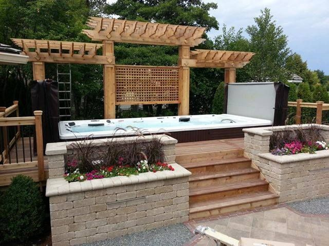 Above Ground Swimspa With Proper Landscape And Design It Looks