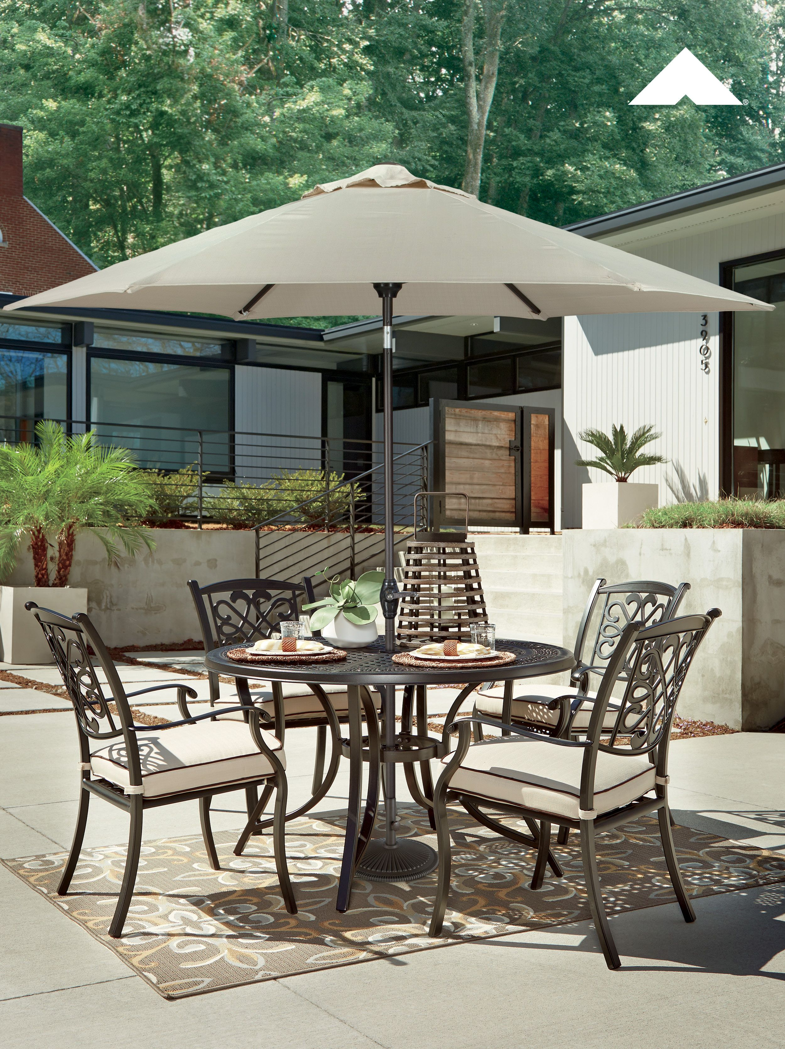 Burnella Dining Set With Umbrella By Ashley Furniture Patio Ideas