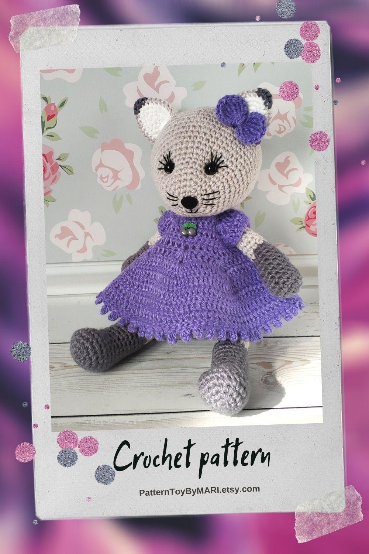 Crochet cat in a dress - detailed pattern