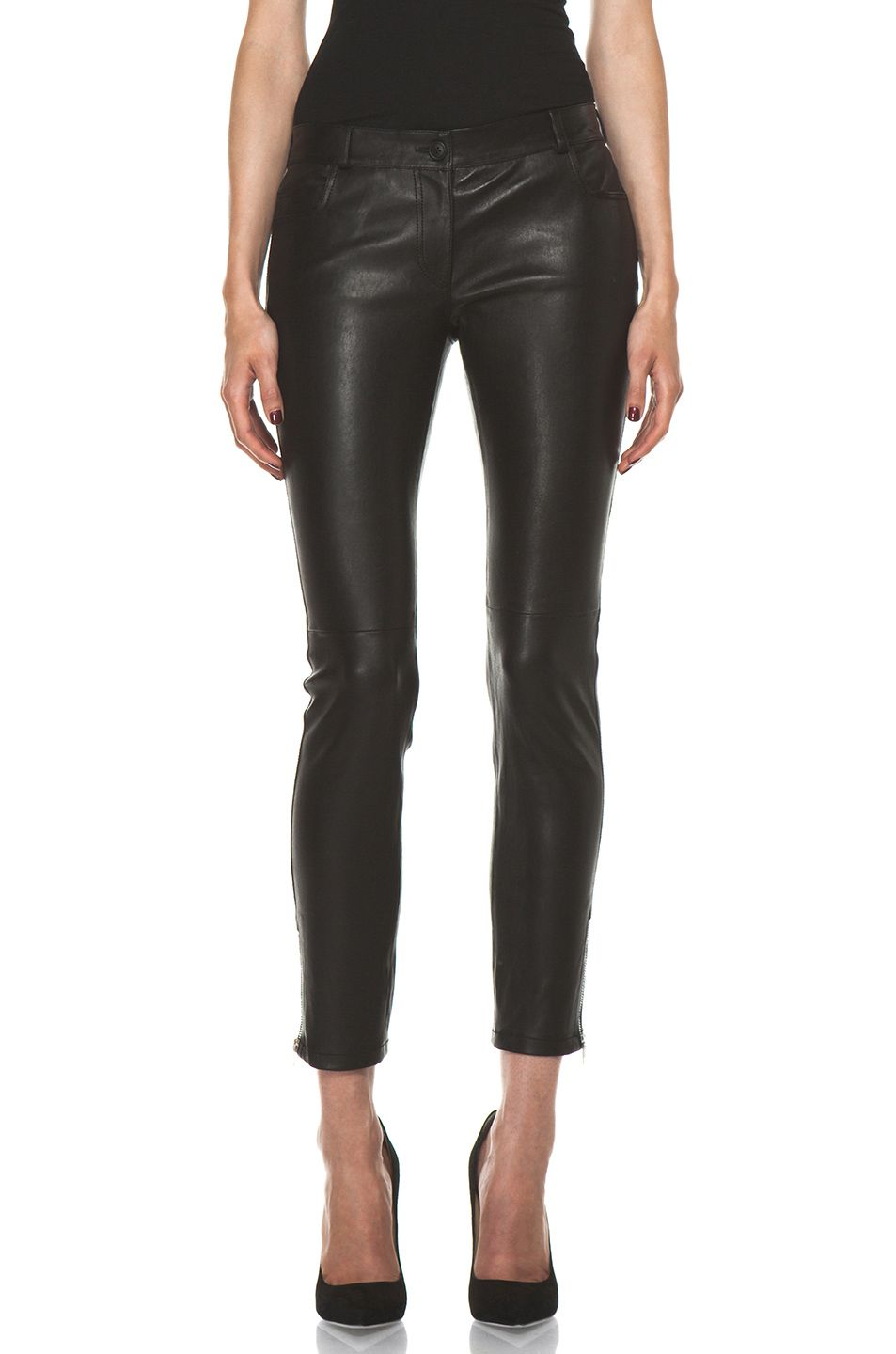 ec9685bab54138 JOSEPH Evie Leather Pant in Black | online walk in closet | Lace up ...