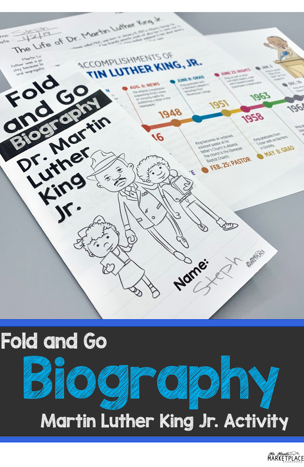 Fold And Go Biography Martin Luther King Jr Activity For