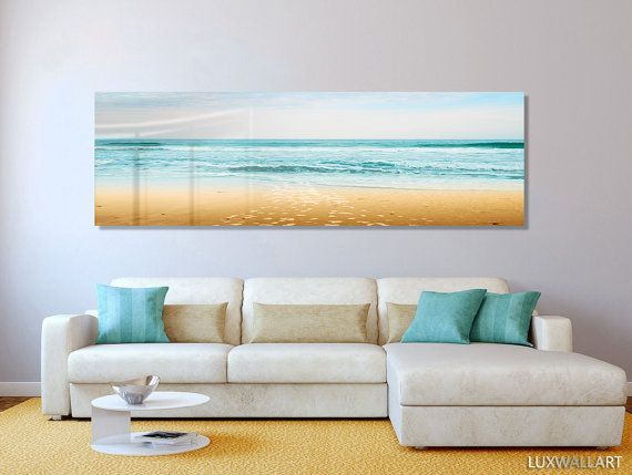 Turquoise Beach Ocean Panoramic Modern Contemporary HD Metal Wall Art & Turquoise Beach Ocean Panoramic Modern Contemporary HD Metal Wall ...