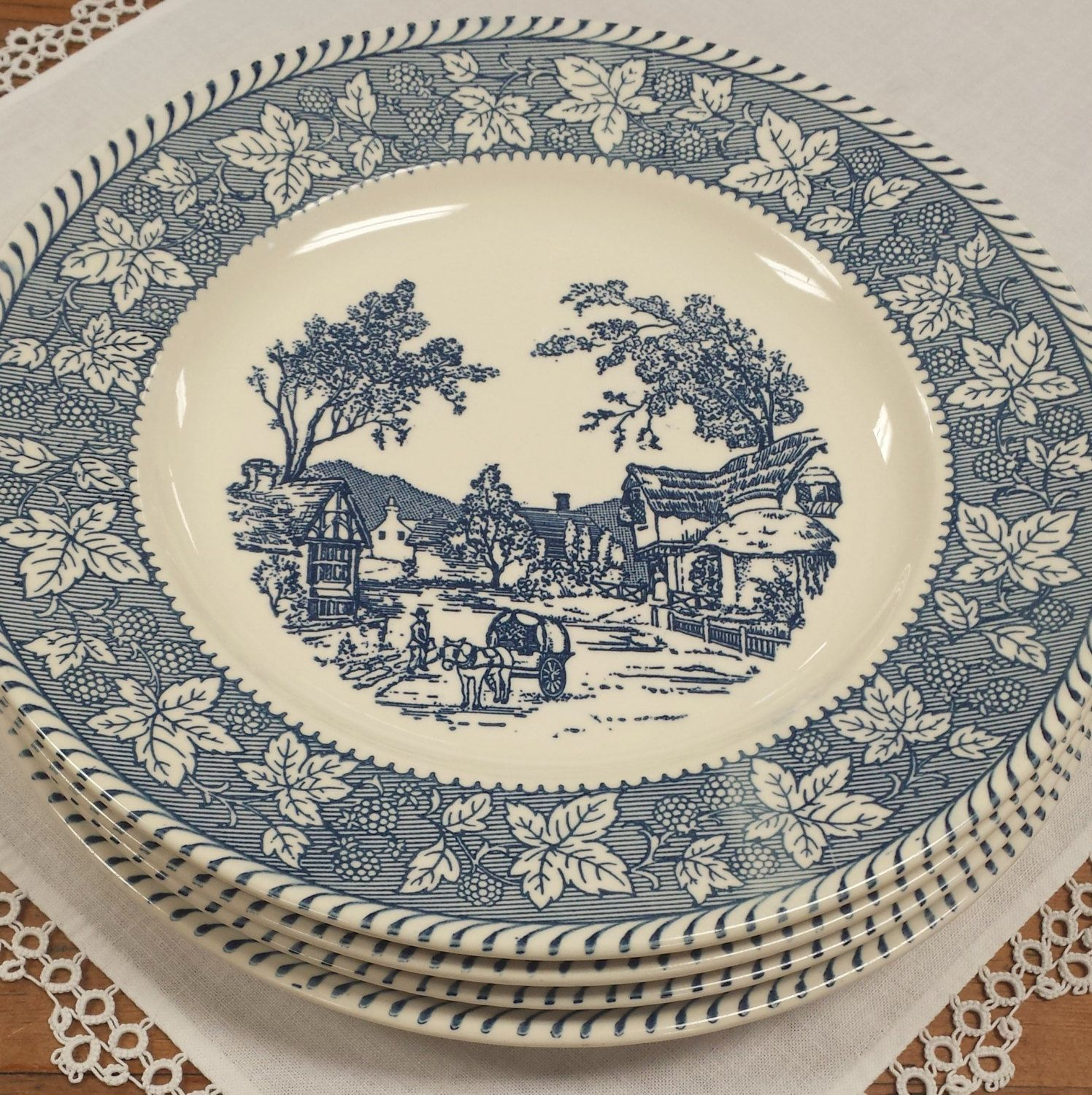 4 Dinner Plates Shakespeare Country by Homer Laughlin Blue Transferware Replacement China  sc 1 st  Pinterest & 4 Dinner Plates Shakespeare Country by Homer Laughlin Blue ...