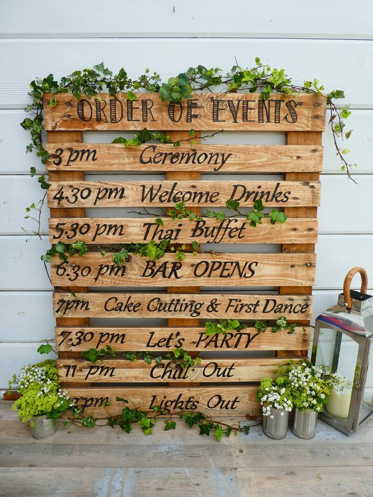 Hand Crafted Rustic Personalised 'Order Of The Day' Wedding Sign / Pallet Wood Sign / Order Of Event