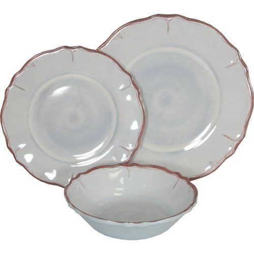 Le Cadeaux Rustica Ice Blue Melamine Dinnerware Place Setting By 39 99