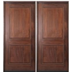 A76-2 Alpine Square Top 2-Panel Entry Doors in Walnut ACTIVE RIGHT SWING $2480