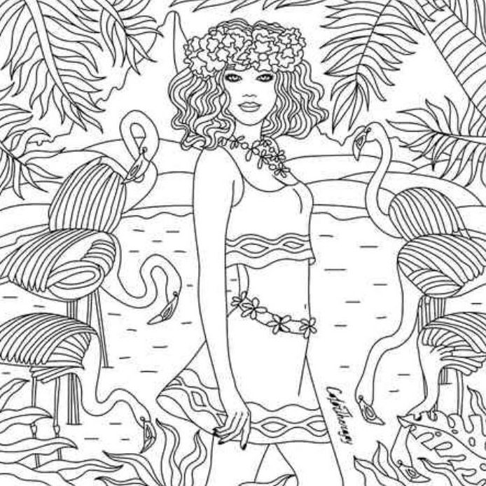 Girl Seaside Color Therapy App Summer Coloring Pages Coloring Books Free Coloring Pages