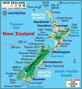 map of New Zealand New Zealand Pinterest