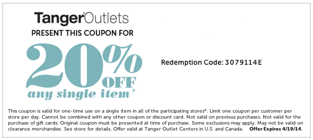 Tanger Outlets 20 Off Item Printable Coupon Coupons Printable Coupons Clothing Coupons