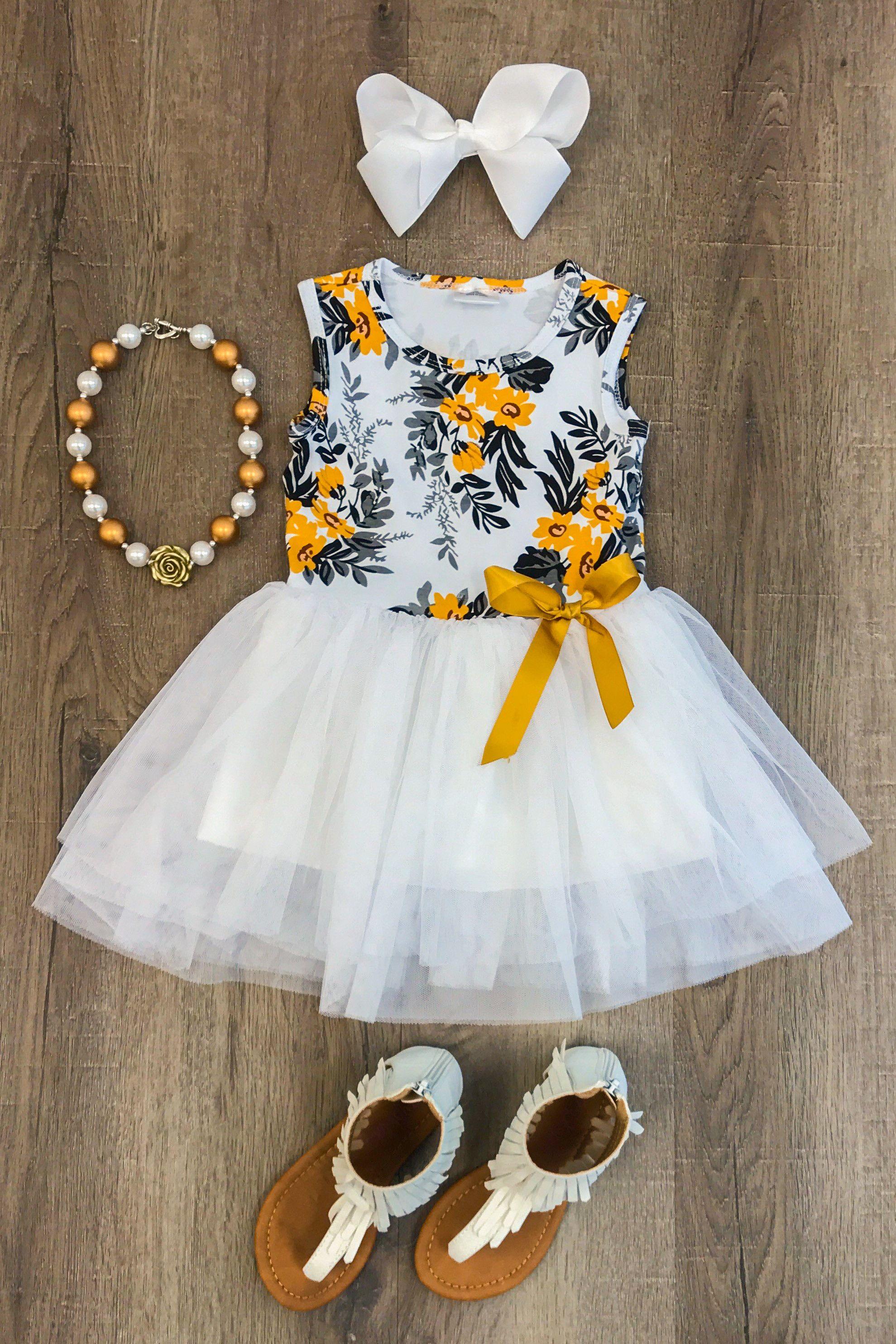 Mustard and Gray Floral Tutu Dress