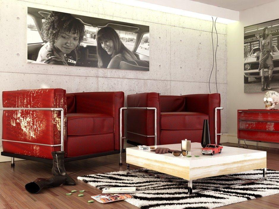 Punainen Musta Valkoinen Contemporary olohuoneen sohva Furry matto OLPOS Suunnittelu