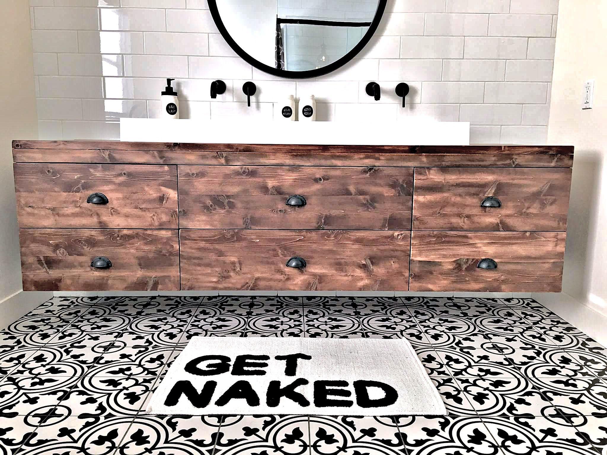 Rustik Meubles Design Est Fabricant D Habillages De Murs En Bois Massif Et De Mobiliers Haut De Gamme Sur Mesure En Bois Vanity Bathroom Vanity Double Vanity