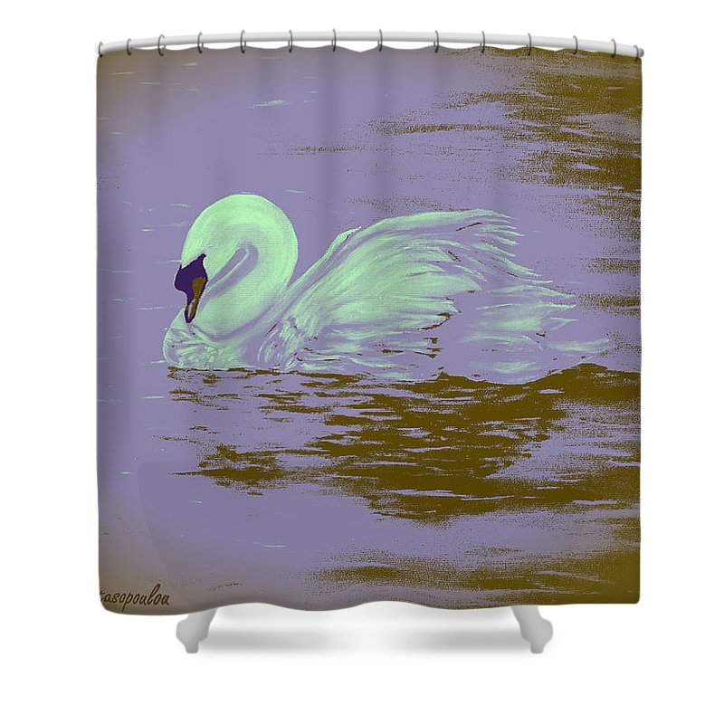 Swan Shower Curtain Featuring The Painting Swan Dream By Faye Anastasopoulou In 2020 Dream Shower Colorful Art Curtains With Rings