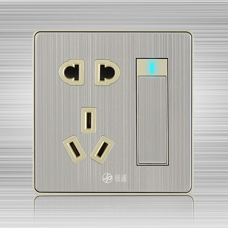 86 type wall switch socket panel brushed the wall outlet power switch with a five hole socket. Black Bedroom Furniture Sets. Home Design Ideas