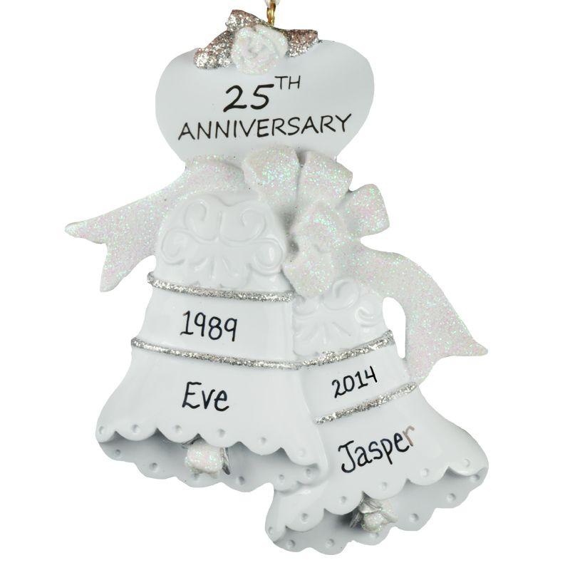 personalized 25th silver anniversary ornament