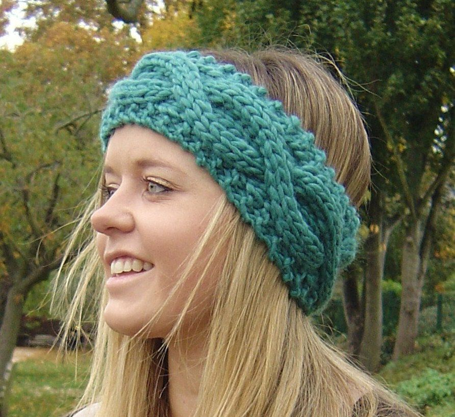 KNITTING PATTERN Chunky Headband Ear Warmer with Cable Rope PDF ...