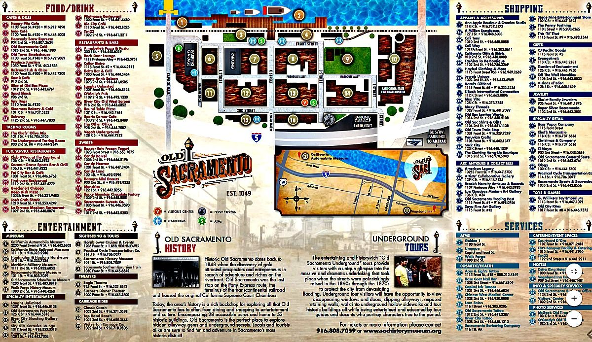 Old Sacramento California Map And Directory Of Stores With Images