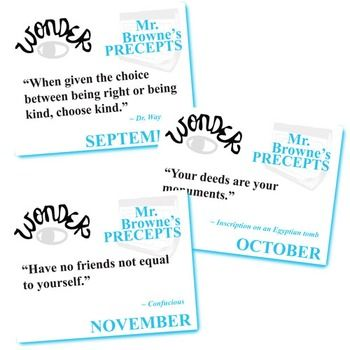Wonder Mr Browne S Precepts 10 Class Posters Palacio R J