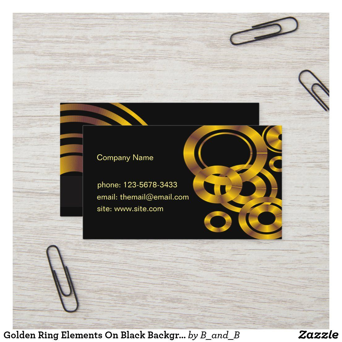 Golden Ring Elements On Black Background Business Card Zazzle