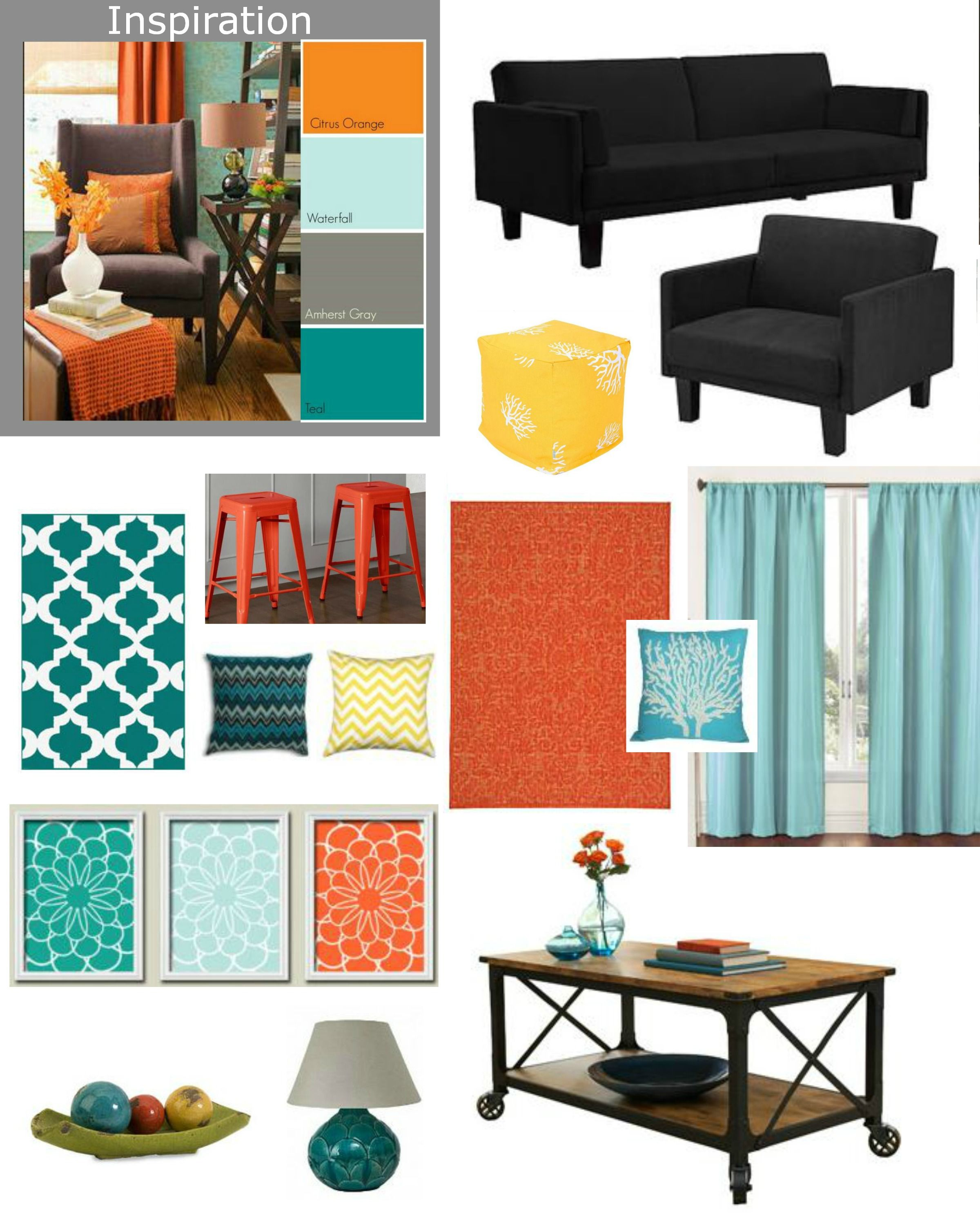 Teal and yellow living room - Cheap Living Room Makeover Furniture Futon And Chair At Walmart 299 Coffee Table Yellow Ottomanteal