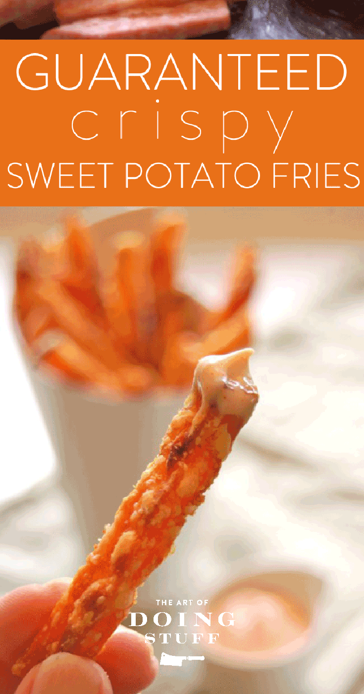 guaranteed crispy sweet potato fries sriracha mayo dip recipe crispy sweet potato fries sweet potato fries crispy sweet potato pinterest